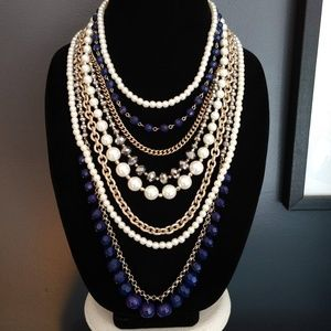 7 strand layered multi bead necklace